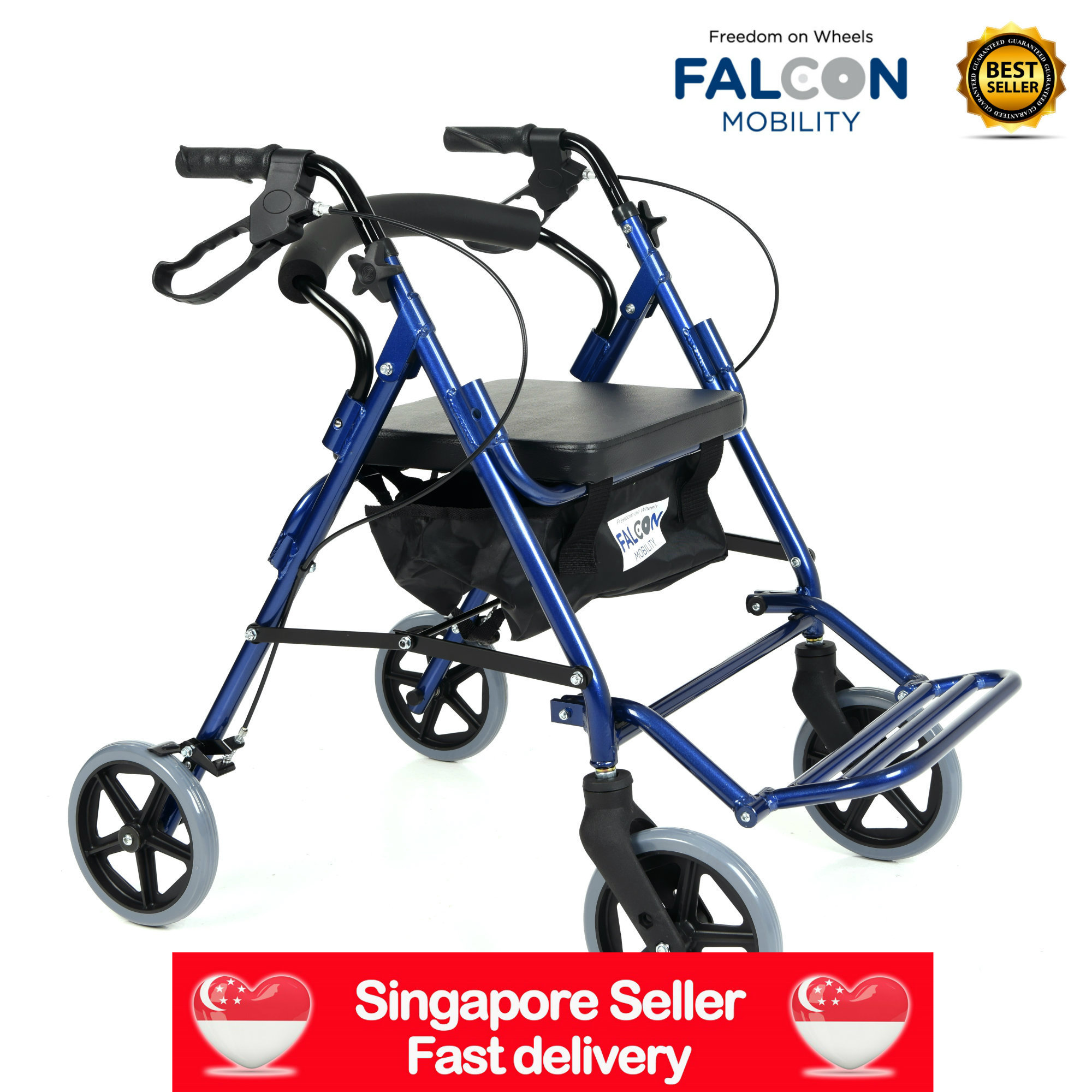 Falcon MobilityDUAL FUNCTION 2-IN-1 ROLLATOR / TRANSPORT CHAIR