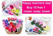 Buy 10 get 1 free/ teachers day gift / teachers day gifts / rose / flowers /  roses / towel / soap