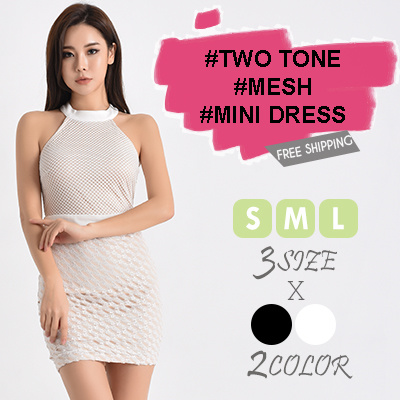 TWO TONE MESH MINI DRESS   Free Shipping   Korea Fashion   LUXURY Look   STYLISH 1cf506f52e4a