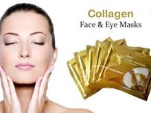 PAKET HEMAT 10PCS Gold Collagen Crystal Eye Mask / Lip Mask / 2PCS Face Facial Mask - MASKER EMAS 24K
