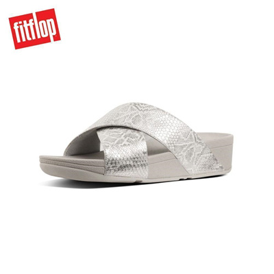 425c0b01d0bd6d Qoo10 - Fitflop™ Python-Print Leather Cross Slides Urban White   Shoes