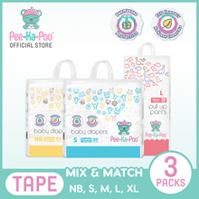 [Bundle of 3] - [Mix And Match] Pee-Ka-Poo 3 Pack x 80 Pcs Taped Diapers or 50 Pcs Pull Up Pants