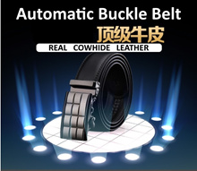 Hot Sale!!! NEW Men Automatic Buckle Genuine Belt/ Business Black Belts / Cowhide Leather Belt