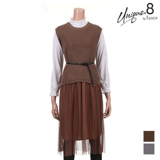 森SOUPベストレースワンピースSETSTKOP09 面ワンピース/ 韓国ファッション