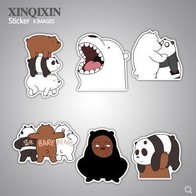 We Bare Bears We Naked Bear Cartoon Doodle Luggage Sticker
