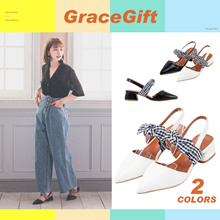 Gracegift-Classic Plaid tie ankle strap point-toe heel/Women/Ladies/Girls Shoes/Taiwan Fashion