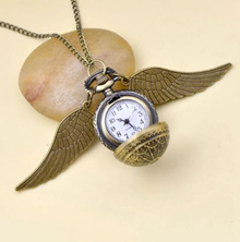 Harri Potter Cosplay Golden Wings Snitch Toy Watch Quartz Pocket Watch Necklace Quidditch Balls