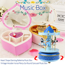 Music Box carousel ornament boutique DIY LED Color lights music box Christmas Gift Home Decorations
