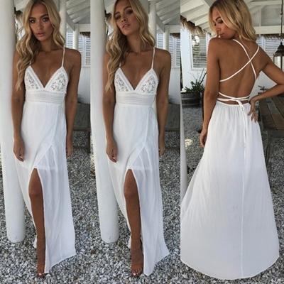 3c97785508 Maxi Dress White Dress Summer Beach Dress Sexy Sleeveless Backless Dresses  Wedding Dress Bandage Dre