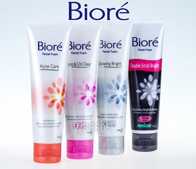 Biore facial foam (Acne Care/Clear and Oil Clear/Glowing Bright/Double  Scrub Bright)