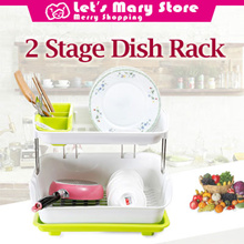 ◆SG Local Delivery◆2 Stage Dish Rack◆dish cup drying rack/ dish drainer/ cutlery holder/ tray/singap