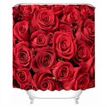 Scenic Shower Curtains 150*180cm Roses Waterproof Polyester Bathroom Shower Curtain Decor With Hooks