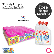 [RB]【FREE Harpic Liquid x3】Thirsty Hippo Dehumidifier 600ml x 8 | Stocks from Singapore
