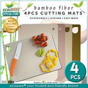 ecoWARE 4pcs Bamboo Fiber Cutting Mat | Anti-bacterial | Natural | Nonporous | Easywash