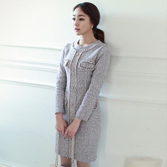 スタイルオンミグルレンチェックオボロルソウル混紡ワンピースnew ニットワンピース/ワンピース/韓国ファッション
