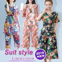 2019 Suit linen and cotton fashion leisure retro-antiquity ethnic style.