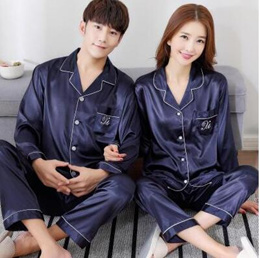 5a0d51393801 Summer silk ladies spring and autumn silk pajamas mens couple long-sleeved  short-sleeved