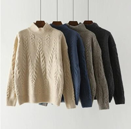 Half-high collar thick sweater womens head loose 2018 autumn and winter new lazy wind inside a twis