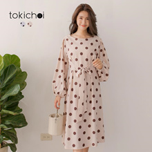 TOKICHOI - Polka Dot Waist?Bandage Long Sleeve Chiffon Dress-182109