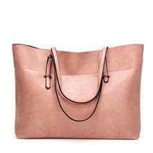 Genuine Leather Women Handbag Oil Wax Leather Vintage Casual Tote Large Capacity Shoulder Bag
