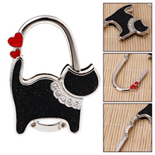 Mini Foldable Table Handbag Hook Bag Purse Metal Holder Cat Shaped Hanger