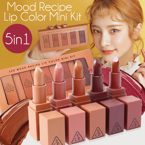 3ce Lipstik Mood Reciepe Mini Set Kit isi 5warna Deals for only Rp55.000 instead of Rp55.000