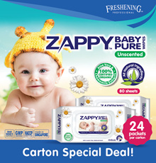 Zappy Baby Pure Wipes 80S Unscented CTN DEAL/ 24 PKTS/ 100% Organic All Natural/ Made in SG!