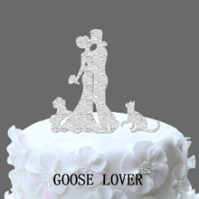 Wedding Cake Topper Bride And Groom Silhouette With Shih Tzu Dog And Cat  Pets Cake Topper  Kissing