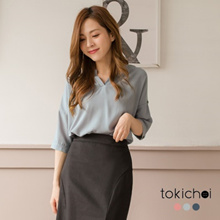 TOKICHOI - V-Neck Wrapped Hem Cuffed-Sleeves Top - 182632