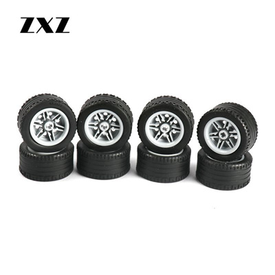 LEGO 12 BLACK SPOKED HUBS WITH BLACK TREADED TRUCKS WHEELS TIRES PIECES
