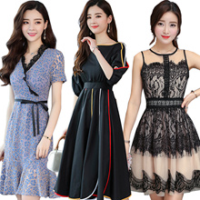 2018 NEW Loose DRESS SUIT PLUS SIZE Cheongsam European British style Lace/Chiffon/Simulation silk