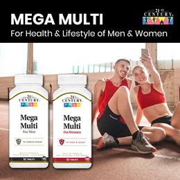 [21st Century] Multivitamin -  Mega Multi For Women/ Men 90 Tablets - For Health and Lifestyle