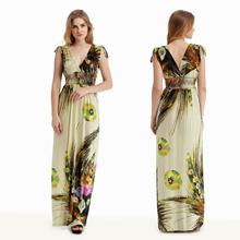 JESSCLOSET - Maxi Bohemian Sleeveless Plus Size Printed V Neck Long Dress #2091 - New Arrival