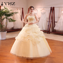 Champagne Ball Gown Sleeveless Sweet Brush Train Bridal Gowns Vintage Country Garden Wedding Dress