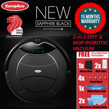 *1200PA STRONG* EuropAce Robotic 2-IN-1 Vacuum Cleaner (Wet and Dry) - 15 MONTHS WARRANTY