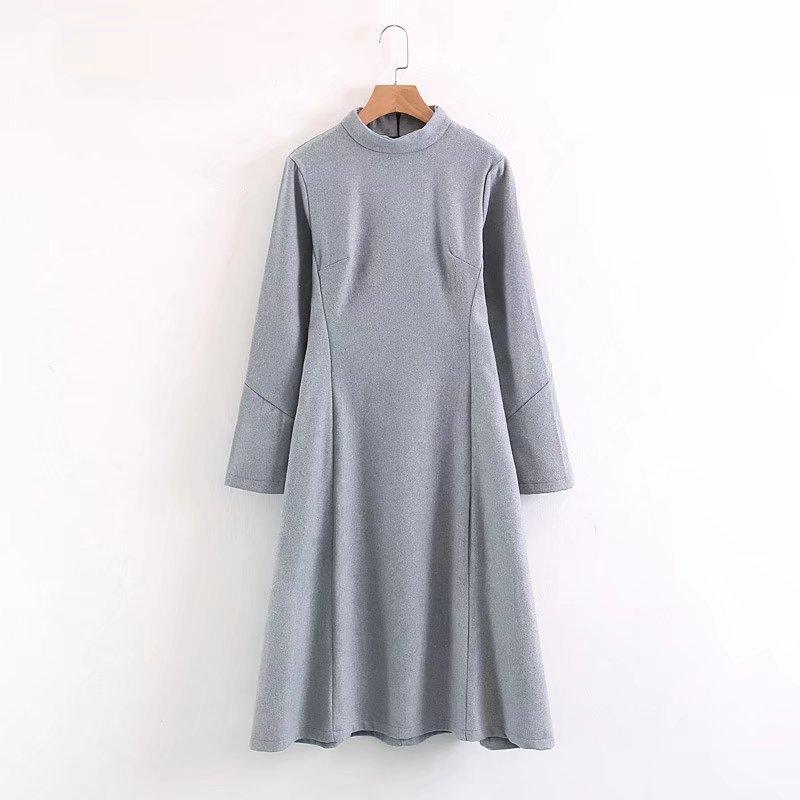 2017秋冬服新型、欧米の風格を女丸首長袖でロングスカートは腰潮学生灰色ラシャワンピース