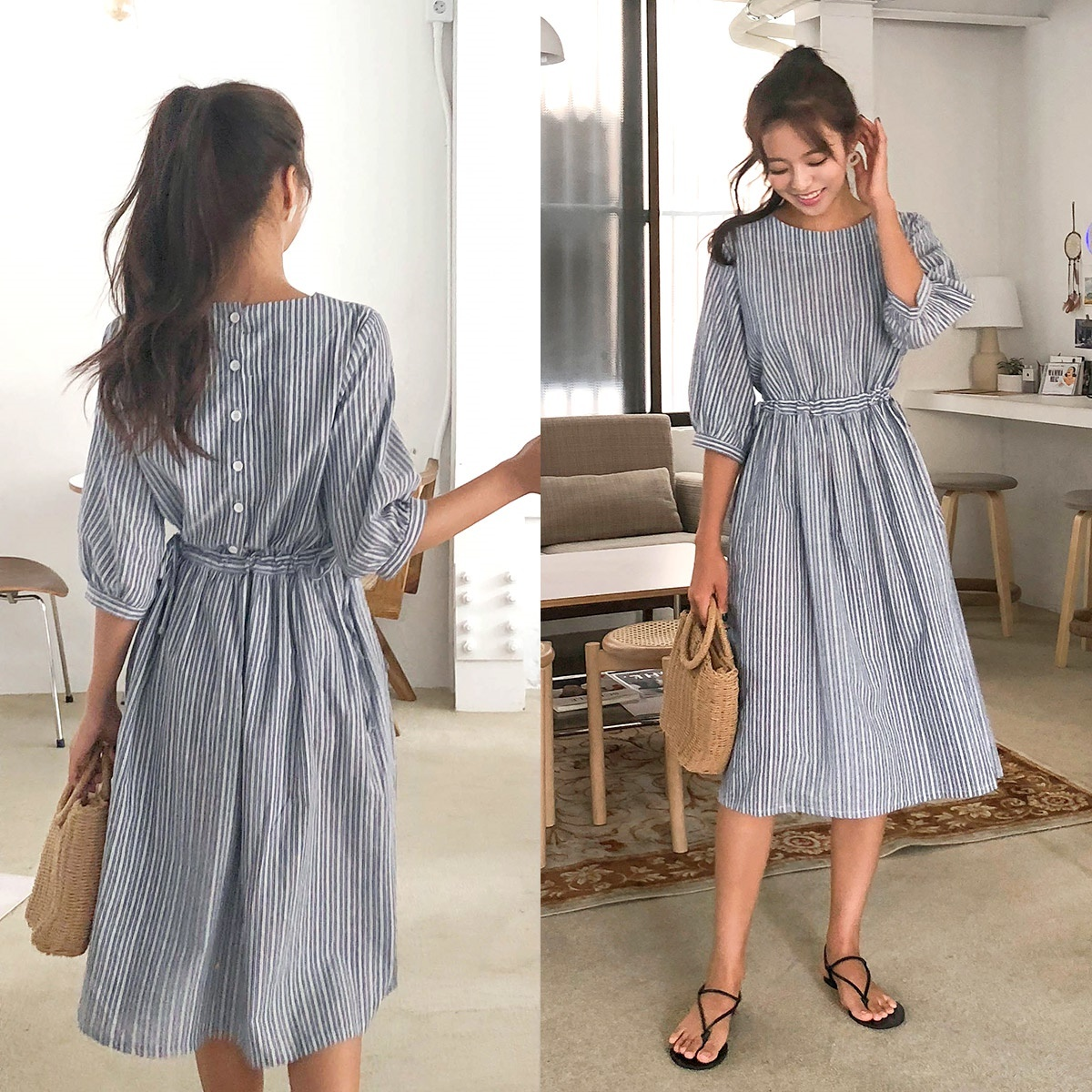 [CHERRYKOKO官方旗艦店] 條紋洋裝 Striped Cotton Dress / storyteller ops