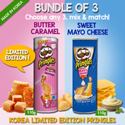 PRINGLES LIMITID EDITION BUTTER CARAMEL/ SWEET MAYO CHEESE 110G/  POTATO CRISPS CHIPS / POTATO CHIPS/ KOREAN  SNACKS/Imported from Korea/ Best Seller/ New Product/