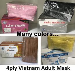 ★READY STOCK★4ply Vietnam Black Adult Mask 50pcs/Box★4ply Adult Pink Mask★Yellow Purple Mask★
