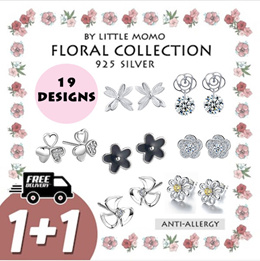 LITTLE MOMO   925 SILVER EARRINGS ANTI-ALLERGY   FLORAL DESIGNS