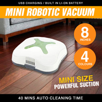 Free Shipping Mini Robotics Vacuum Cleaner USB Charging Built In Li-on Battery 40 Mins Clean time