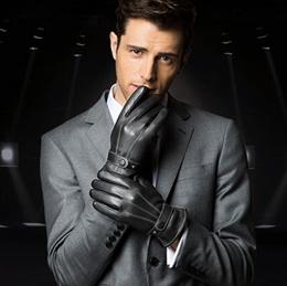 Sheepskin Gloves with zip Trendy Gloves Popular Gloves Male Gloves
