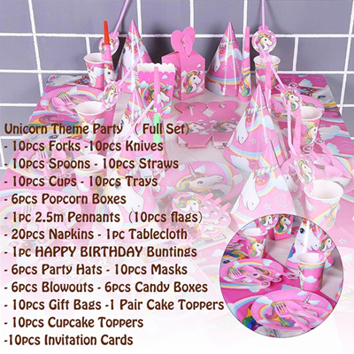 148Pcs Party Supplies Unicorn Theme Birthday Decoration Tableware Children Kids Gift