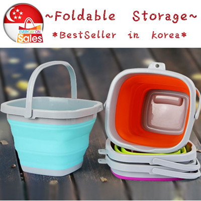 ~Multipurpose Foldable Silicone Bucket ★~4 sizes~/Car wash / Fishing / Beer Bucket/Toys storage