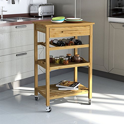 Qoo10 Rolling Bamboo Kitchen Island Storage Bakers Cart Wine Rack