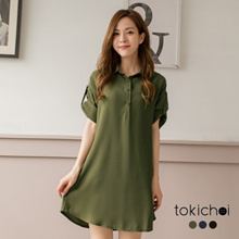 TOKICHOI - Button Top Shirt Tunic Dress - 182631