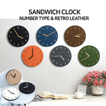 ★THEHAKI★SANDWICH CLOCK/WALL CLOCK/Retro/Leather/EVA/6types/SBA17_002