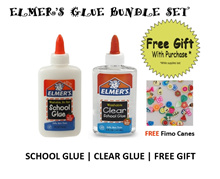 Elmers School Glue and Clear Glue (2-piece pack with Free Gift)