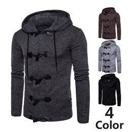 Foreign trade European code autumn and winter new mens jacket mens personality horn buckle