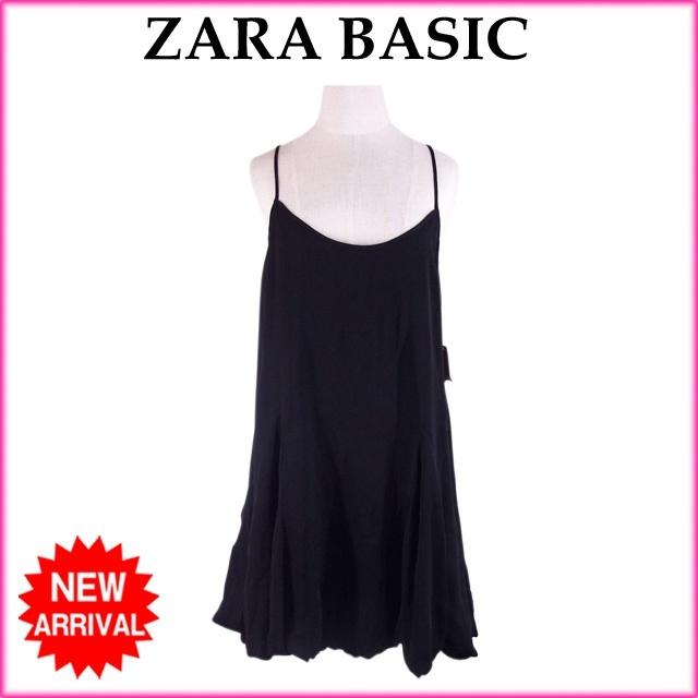 ザラ・ベーシック ZARA BASIC ワンピース /レディース /バルーンシルエット ブラック PE/100%ACETATO/100% (あす楽対応)(未使用品)【中古】 R1029 .